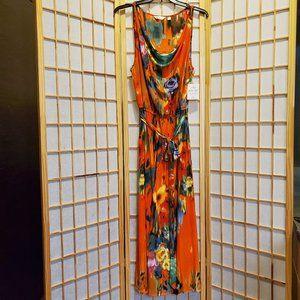 Mlle Gabrielle Tie Waist Cowl Neck Dress Sz 2X NWT